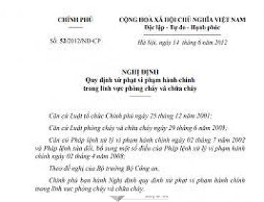 Nghị định số 52/2012/NĐ-CP quy định xử phạt VPHC trong lĩnh vực PCCC